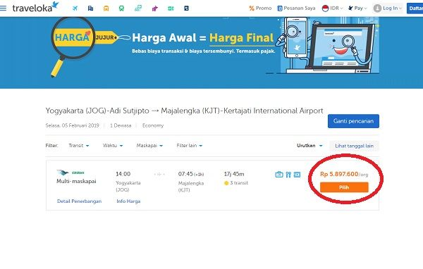 Harga Tiket Pesawat dari Yogyakarta ke Bandara Kertajati, Senin (4/2/2019)