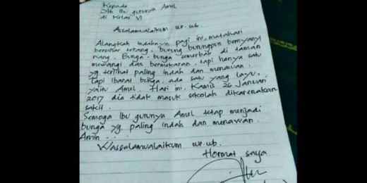 Amel Sakit, Ayahnya Kirim Surat Izin ke Ibu Guru, Isinya Bikin Anda Ngakak