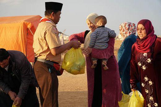 Pramuka Salurkan Bantuan Kemanusiaan Program Musim Dingin 2018 untuk Pengungsi Palestina dan Suriah di Yordania