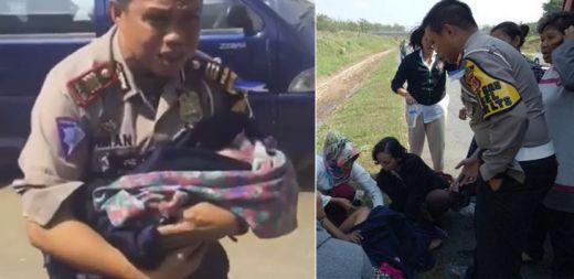 Mendadak Viral..., Seorang Ibu Melahirkan di Pinggir Tol Cipali Dibantu Polisi