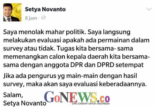 Golkar Rapatkan Barisan Menuju Pilkada 2017, Benarkah Setya Novanto Menolak Mahar Politik ?