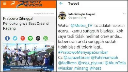 Sebut Prabowo Ditinggal Pendukung saat Orasi di Padang, Warga Minang Geram ke MetroTV