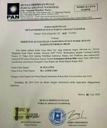 Pilkada Rohil, DPP PAN Resmi Usung Pasangan Suyatno-Jamiludin