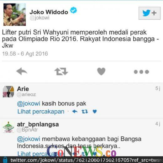 Lewat Akun Twitternya, Jokowi Mengaku Bangga Sri Wahyuni Raih Medali Perak Olimpiade 2016