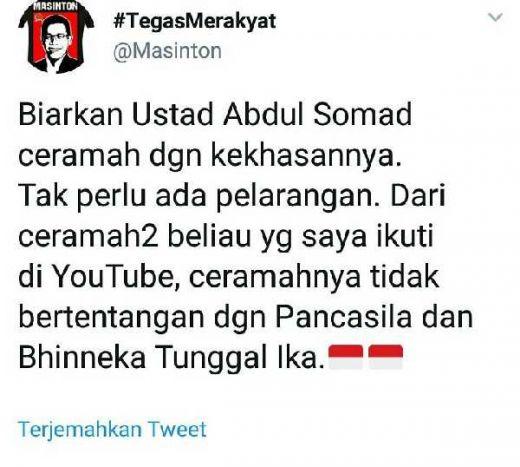 Masinton Pasaribu: Setelah Saya Ikuti Ceramahnya di Youtube, UAS Tak Bertentangan dengan Pancasila