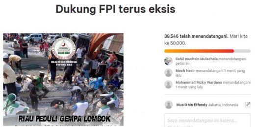 Muncul Petisi Balasan Dukung FPI Sudah Ditandatangani Puluhan Ribu Orang