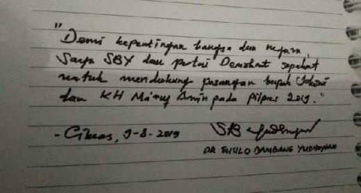 Tulisan Tangan SBY Dukung Jokowi-Maruf, Partai Demokrat Pastikan Hoax