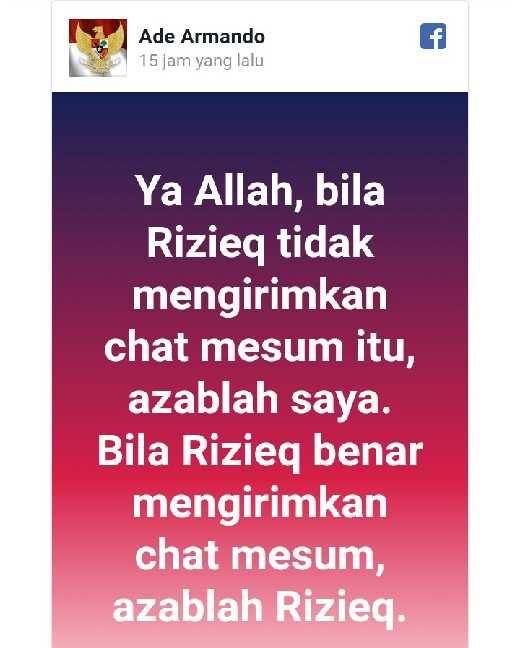 Soal Chat HRS, Dosen UI Ade Armanto Tantang Azab Allah, Ribuan Netizen Mengaminkan