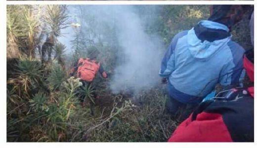 Petugas Lembur, Satu Titik Api Hutan Gunung Ciremai Belum Padam