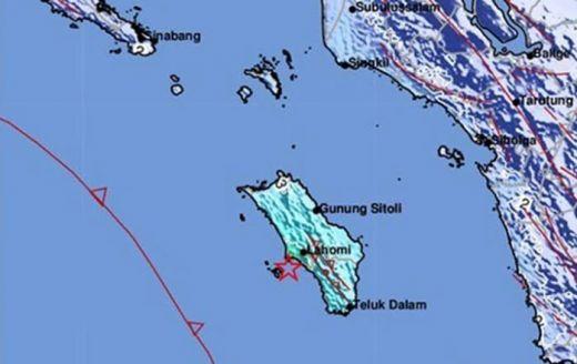 Pulau Nias Diguncang Gempa 4,9 SR