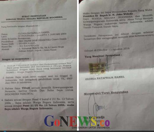 Ini Penampakan Surat Pernyataan Kewarganegaraan Indonesia Yang Diajukan Gloria 13 Agustus 2016 Lalu