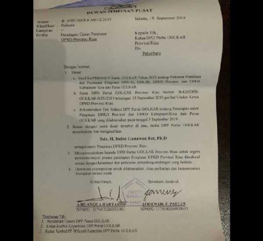 Beredar SK Penunjukan Indra Gunawan Eet Jadi Ketua DPRD Riau, Airlangga Bungkam