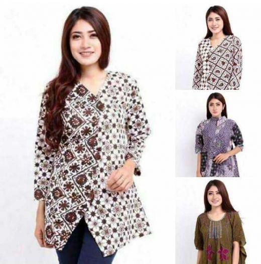 10 Model Baju Batik Muslim Atasan Wanita Terbaru 2018: Ini Dia, Model Baju Batik Wanita Asli Indonesia