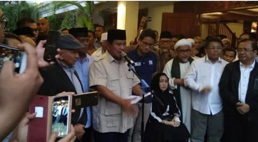 Klaim Punya Bukti Kuat, Jadi Alasan Prabowo-Sandi Deklarasi Kemenangan Lebih Awal