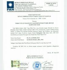 Sah... DPP PAN Putuskan Alfedri-Husni Mirza untuk Jagoan Pilkada Siak
