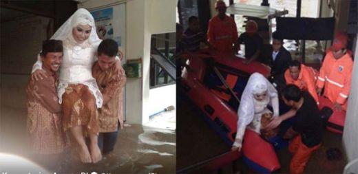 Kisah Marlina dan Mansyur Menikah Saat Banjir Melanda Jakarta