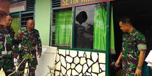Diduga Terkait Sengketa Lahan, Markas Koramil Pecah Dilempar Warga