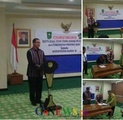 Akan Segera Dibangun Asrama Haji di Riau, Gubernur Andi Serahkan Hibah Tanah ke Menteri Agama