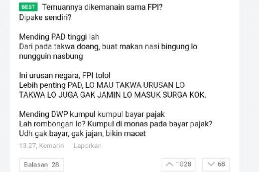 3 Komentar Terbaik Netizen soal FPI yang Minta Anies Stop DWP pasca Temuan Kondom dan Miras