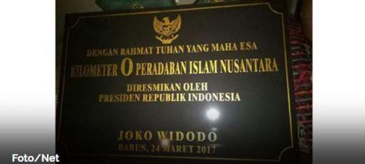 Jokowi Resmikan Tugu Titik Nol Kilometer Peradaban Islam Indonesia di Barus