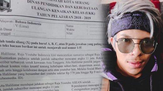 Heboh, Nama Youtuber Atta Halilintar Masuk dalam Soal Ujian SD