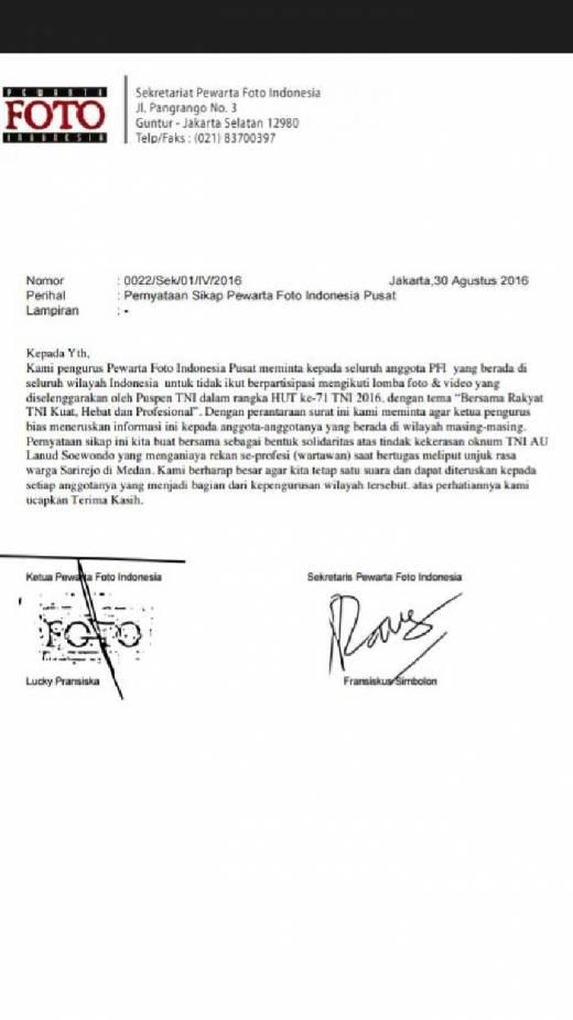 PFI Pusat Larang Seluruh Anggotanya di Daerah Ikut Lomba Foto dan Video Puspen TNI, Ini Sebabnya